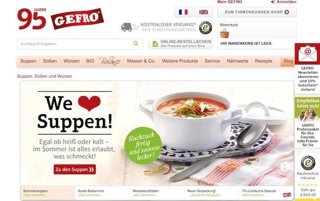 GEFRO Webseite