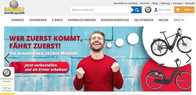 Radwelt-Shop Webseite